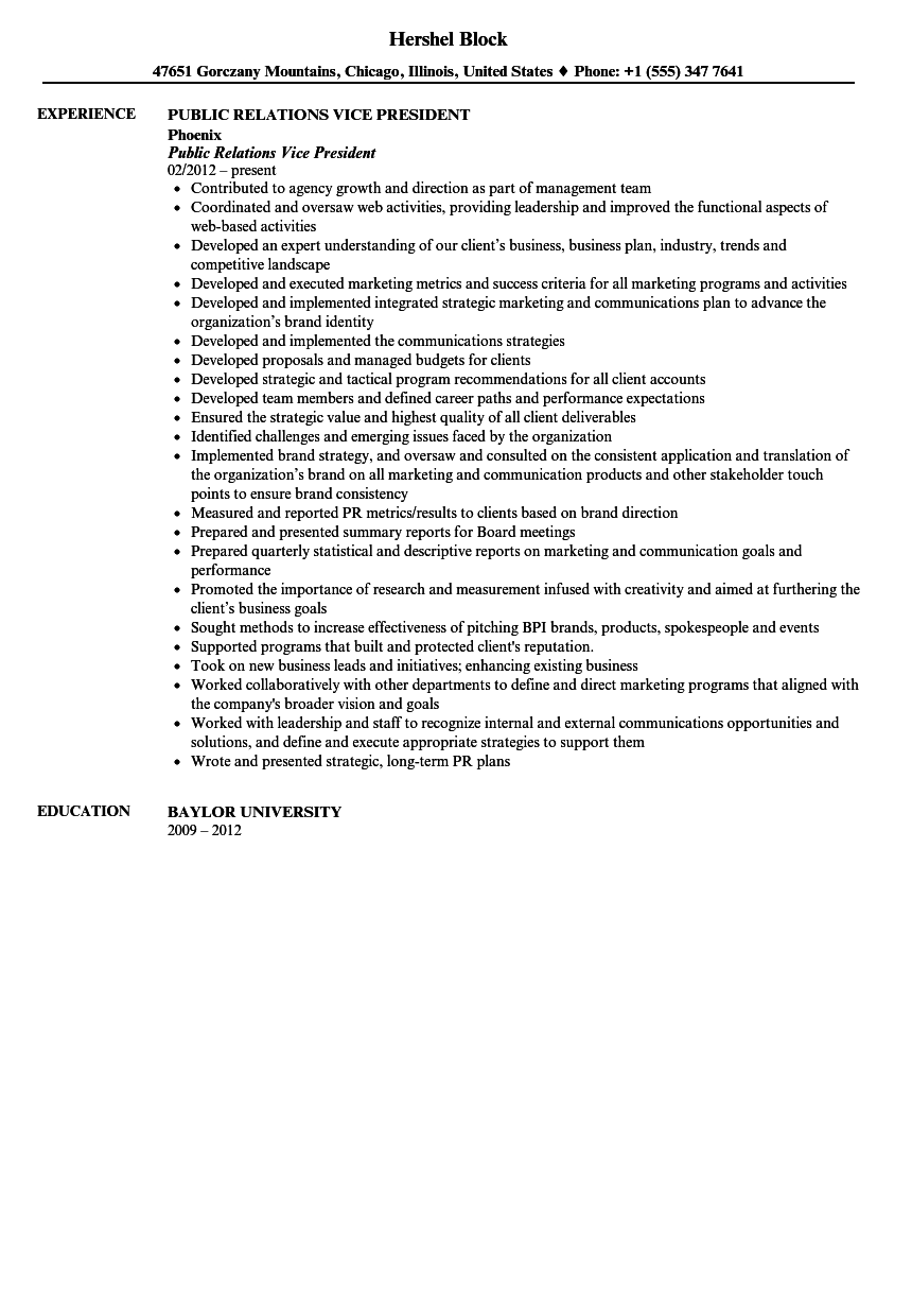 public relations vice president resume sample velvet jobs