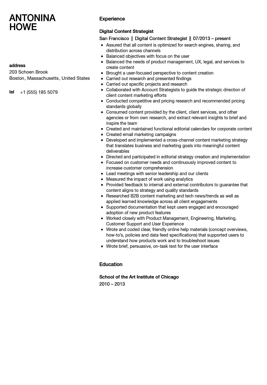 Digital Content Strategist Resume Sample | Velvet Jobs