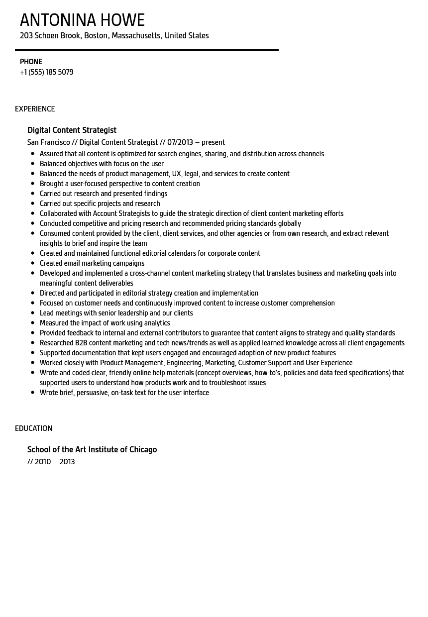 Digital Content Strategist Resume Sample Velvet Jobs