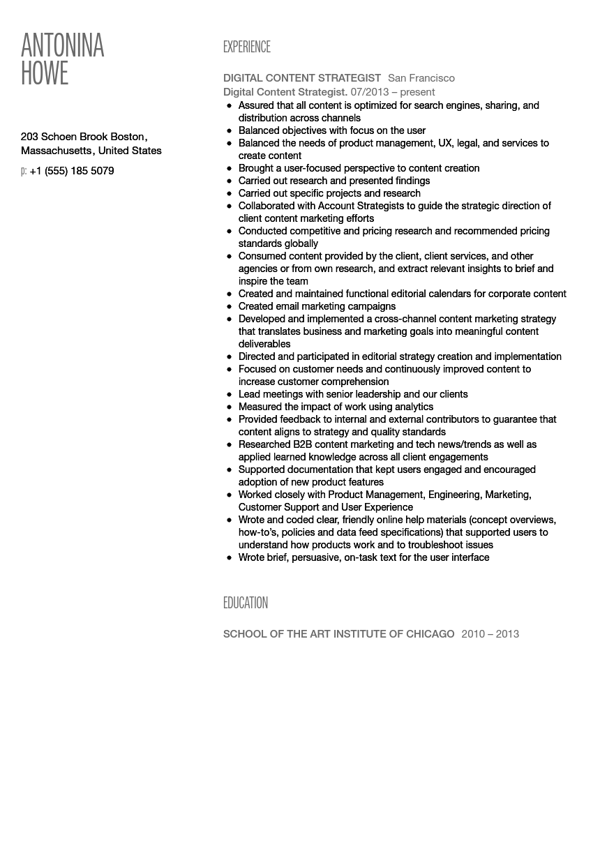 digital content strategist resume sample - Digital Strategist Resume