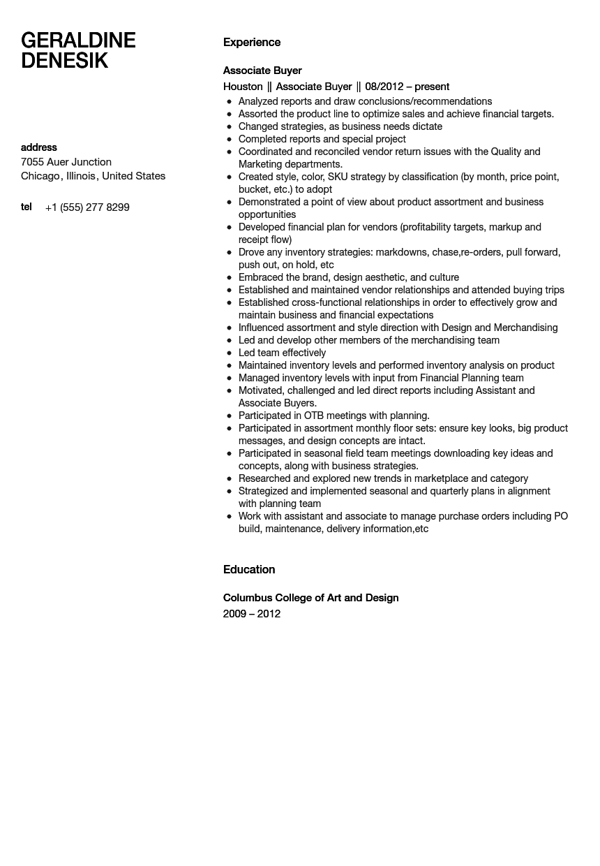 Associate Buyer Resume Sample | Velvet Jobs