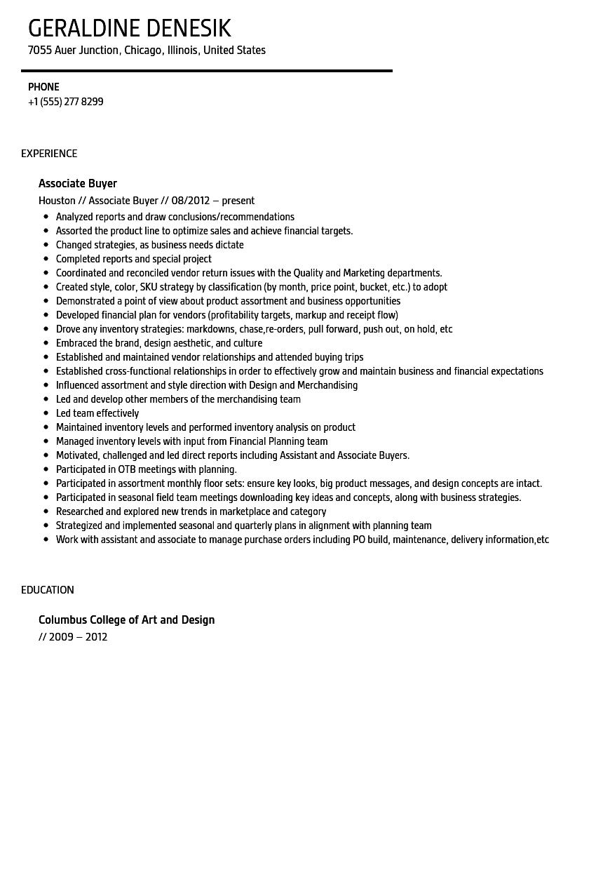 Art buyer resume