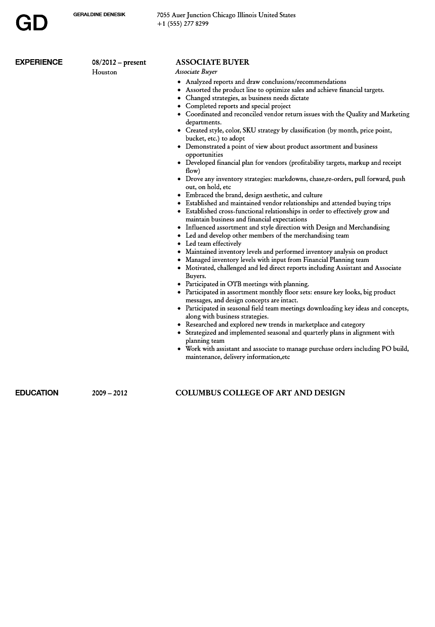 associate buyer resume sample velvet jobs