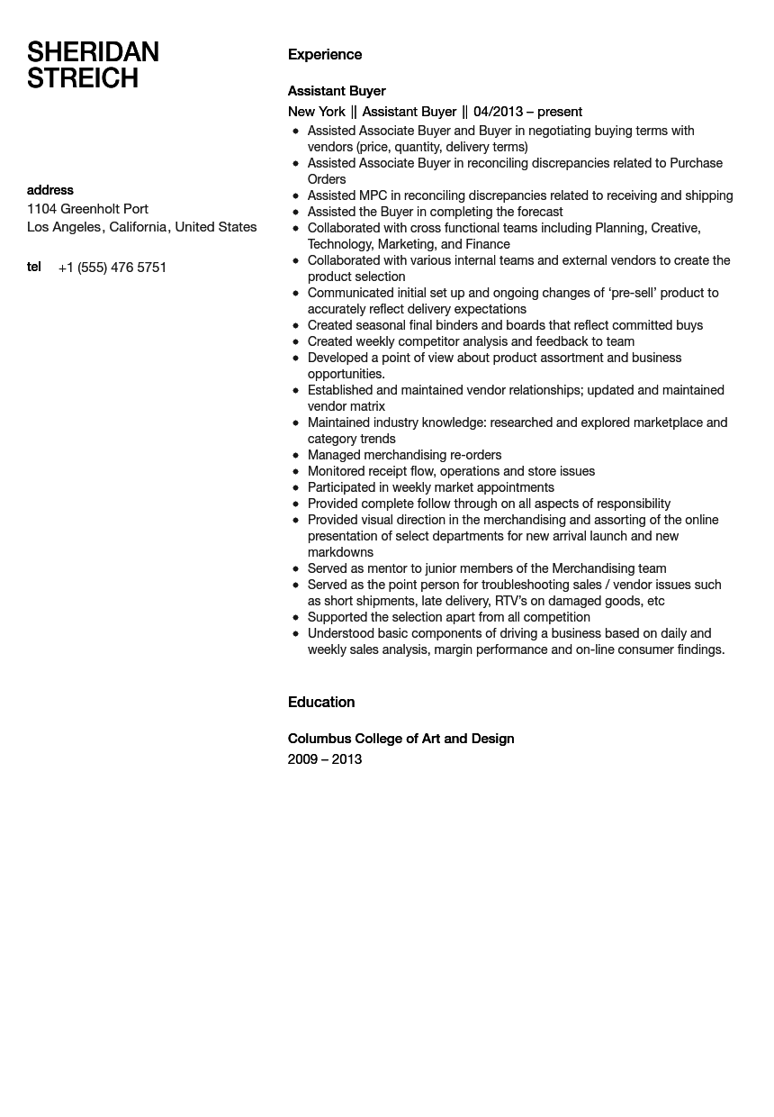 Assistant Buyer Resume Sample | Velvet Jobs