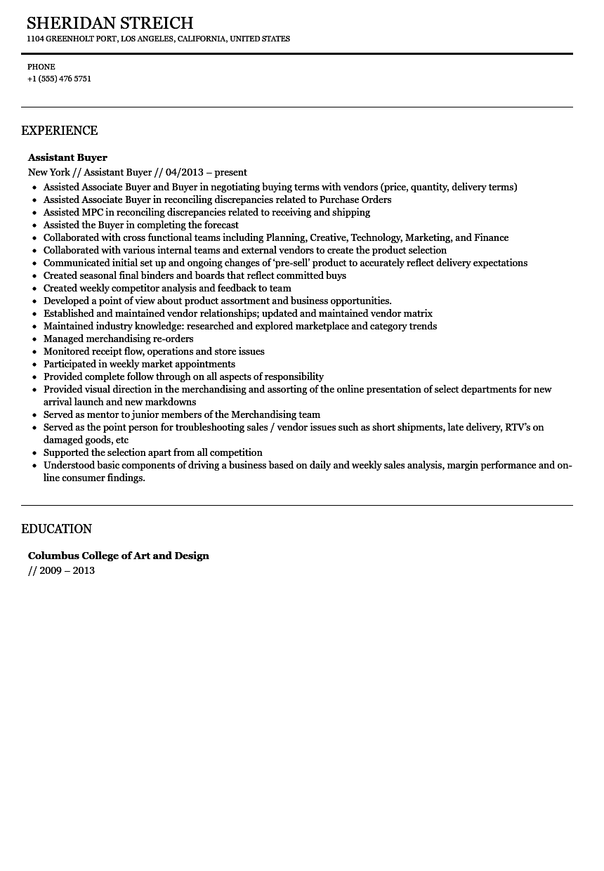 Assistant Buyer Resume Sample  Assistant Buyer Resume