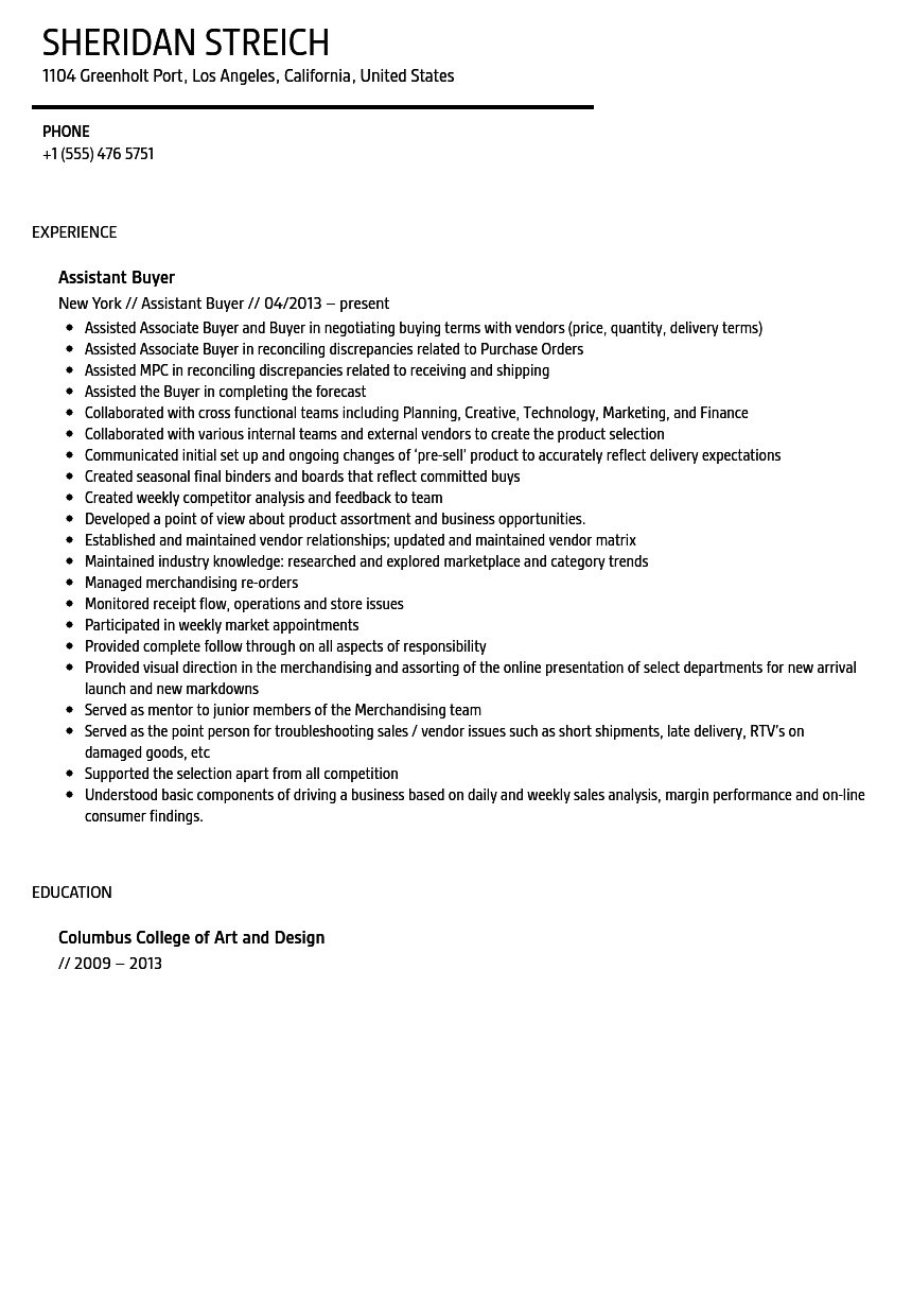 Assistant Buyer Resume Sample