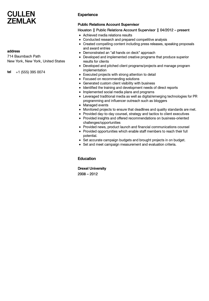 public relations account supervisor resume sample velvet jobs