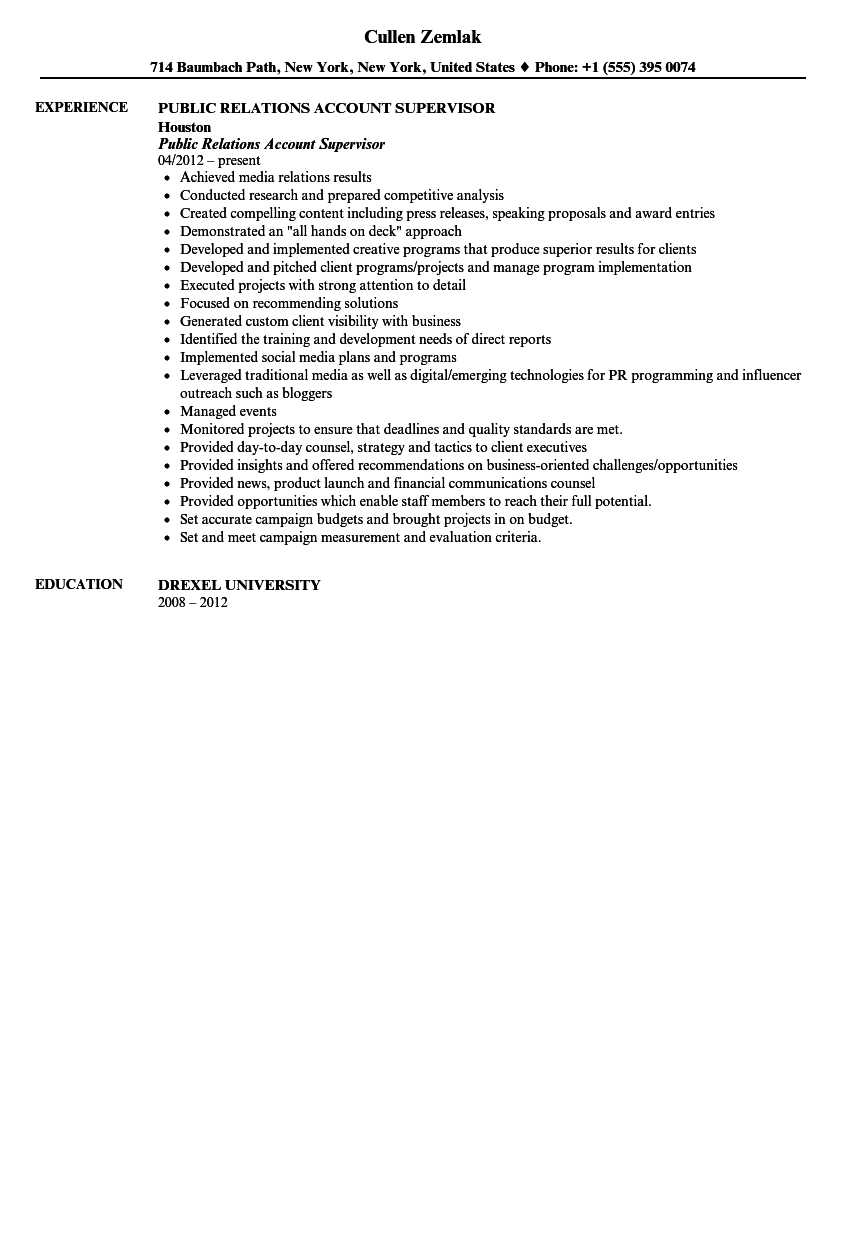 public relations account supervisor resume sample