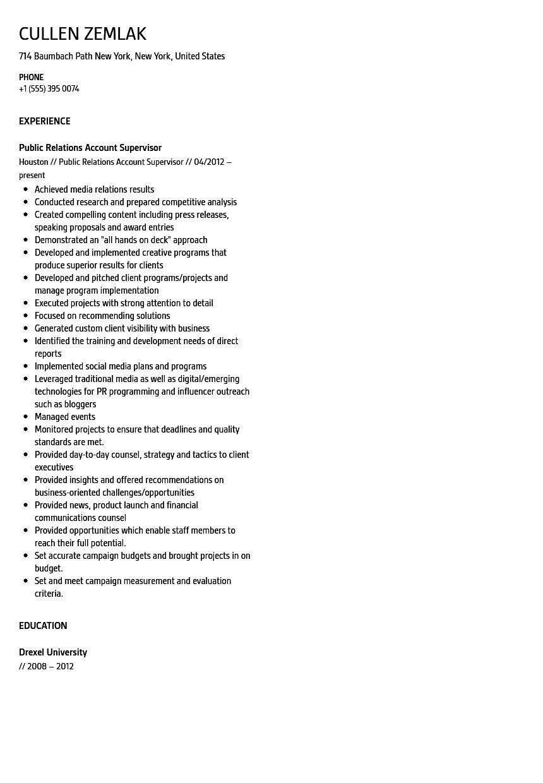 Public Relations Account Supervisor Resume Sample Velvet Jobs