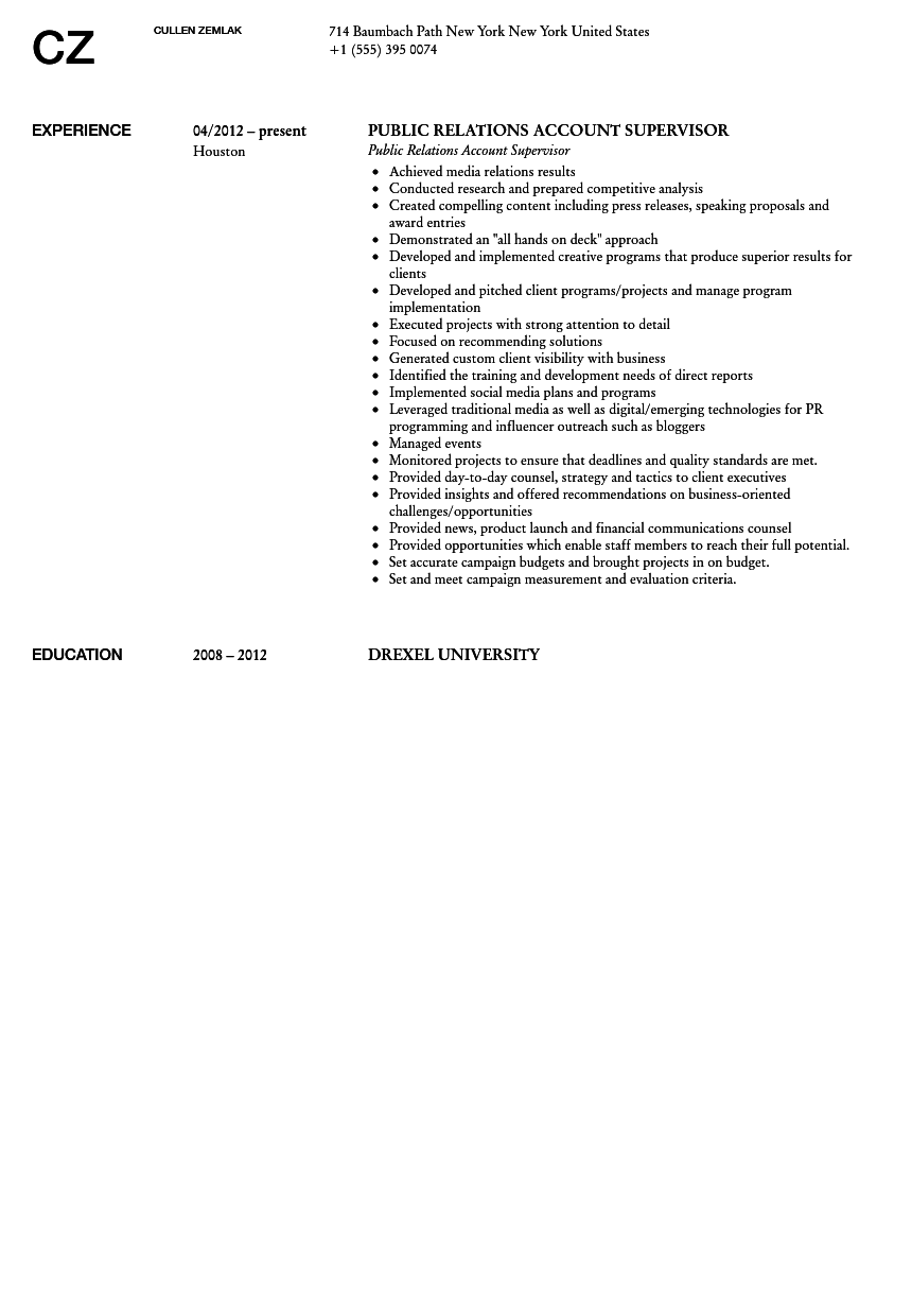 Public Relations Account Supervisor Resume Sample  Public Relations Resume Sample