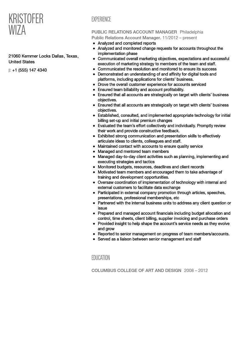 public relations account manager resume sample - Sample Public Relations Manager Resume