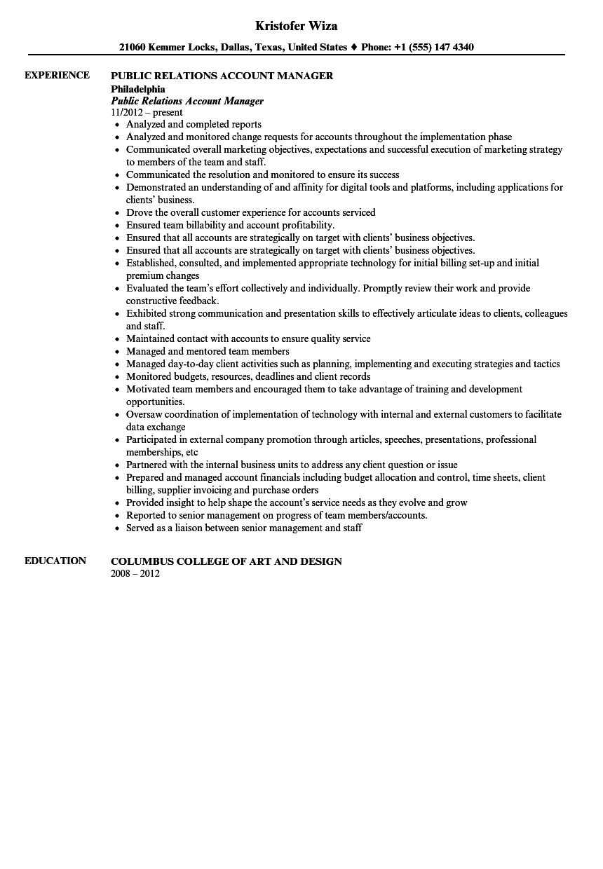 public relations account manager resume sample velvet jobs