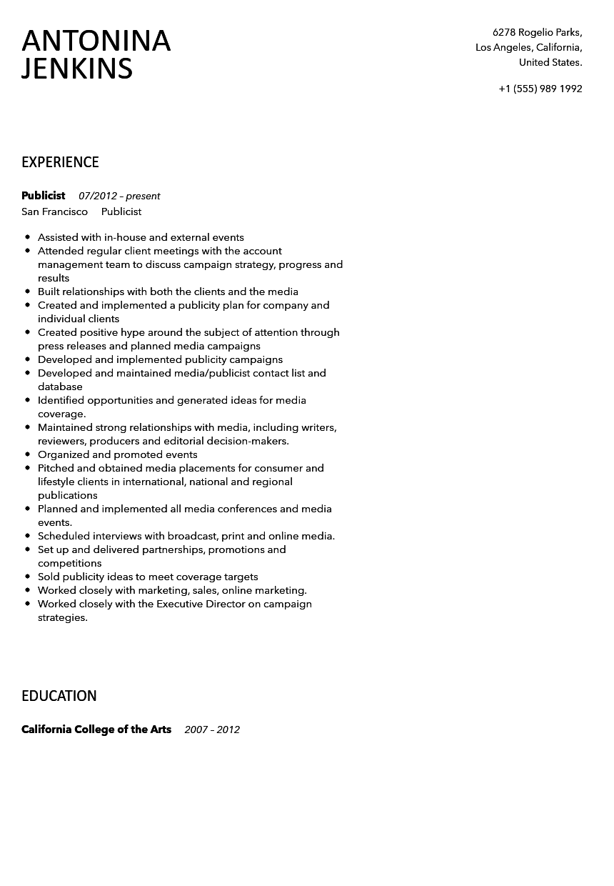 Publicist Resume Sample | Velvet Jobs