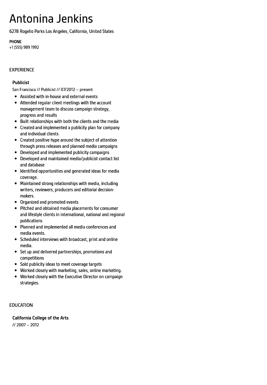 publicist resume sample