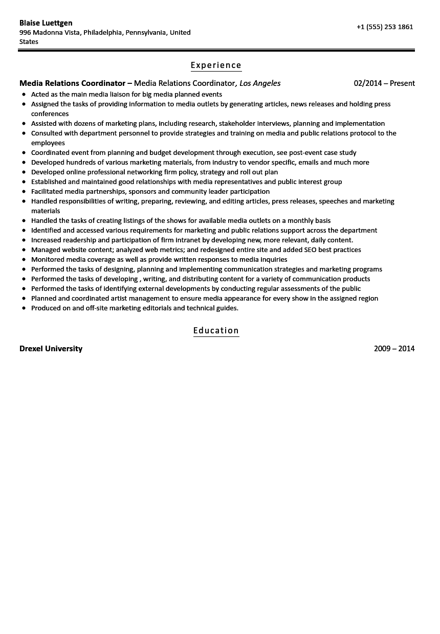 Media Relations Coordinator Resume Sample  Training Coordinator Resume