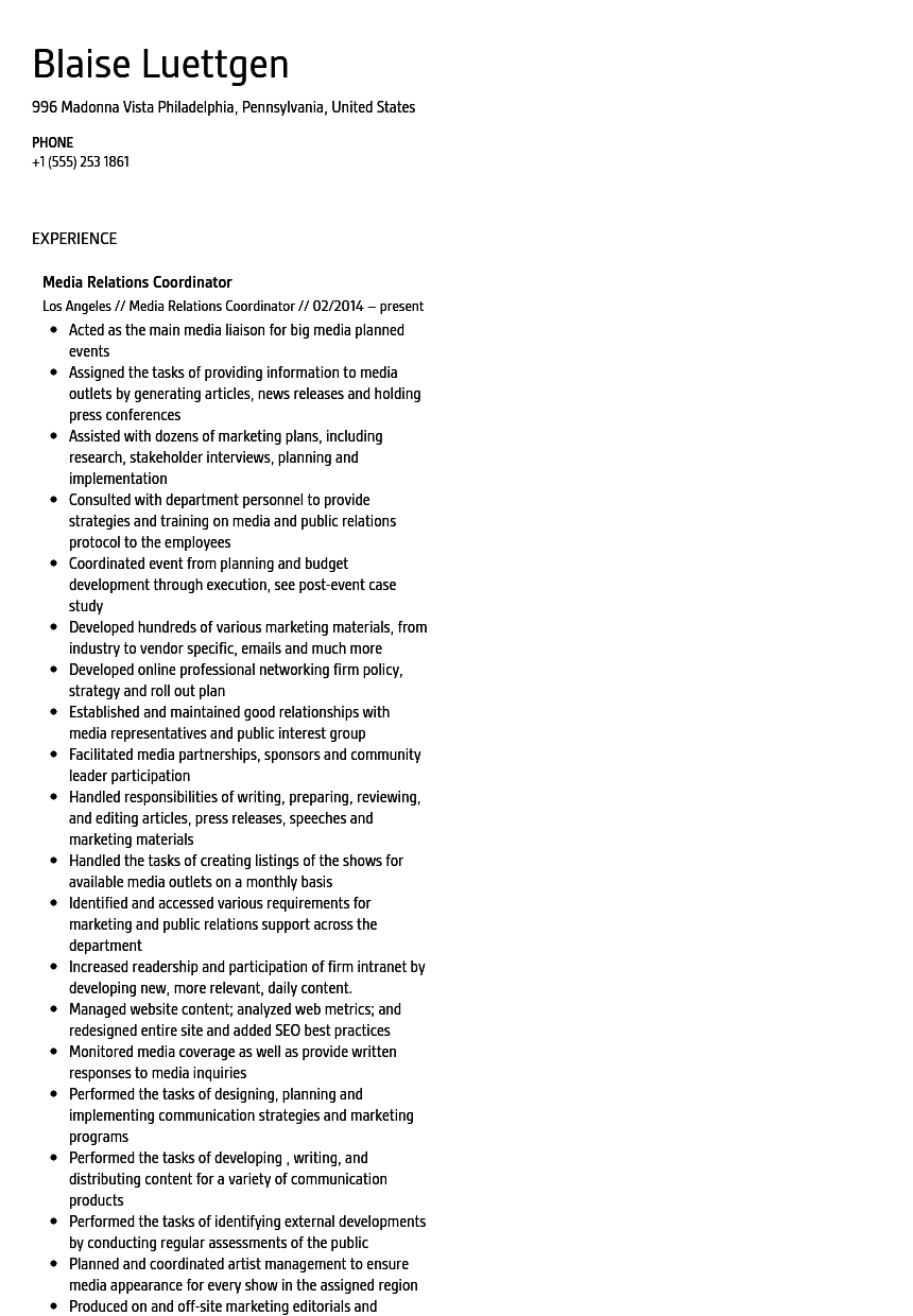 Media Relations Coordinator Resume Sample
