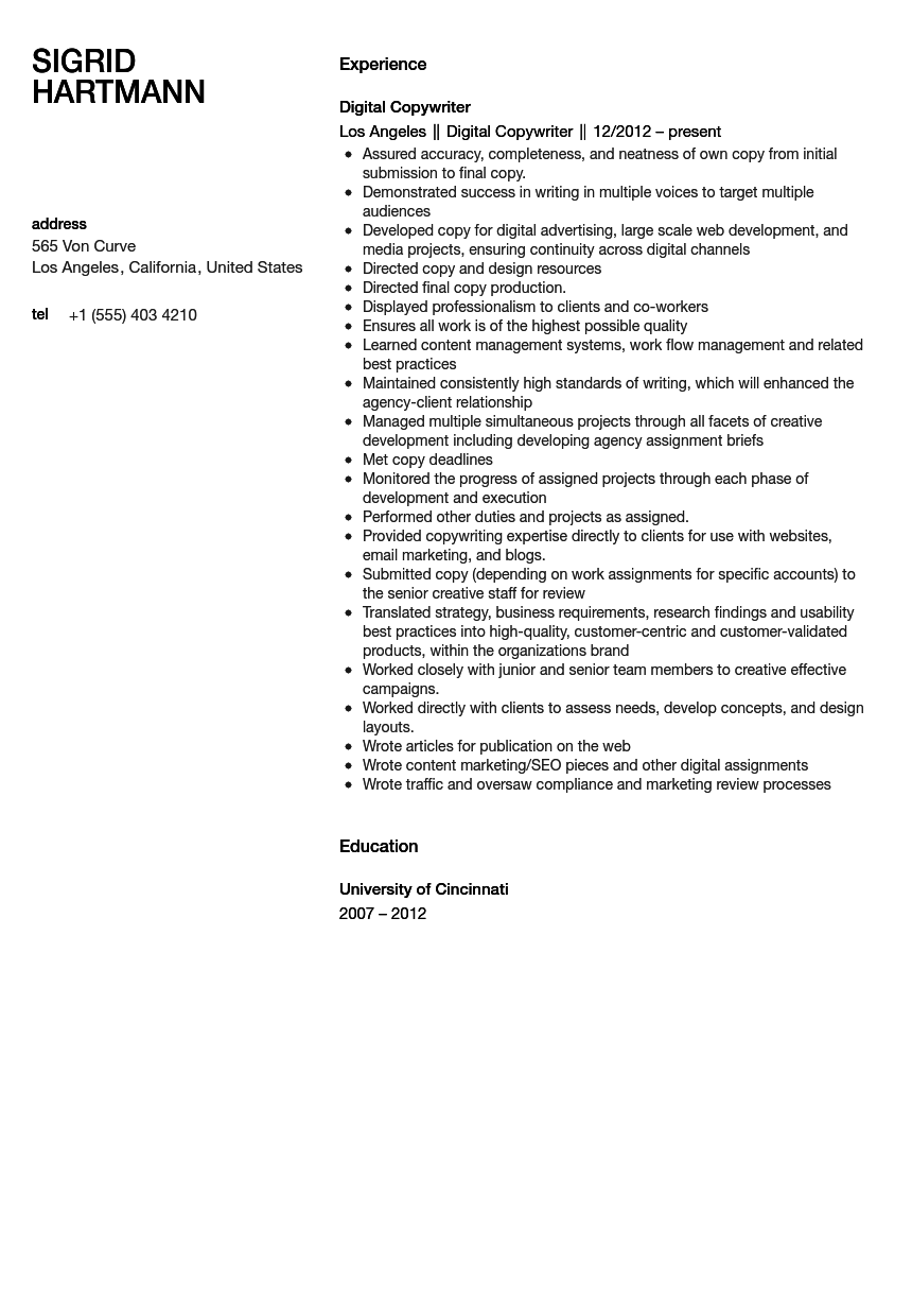 senior copywriter resume
