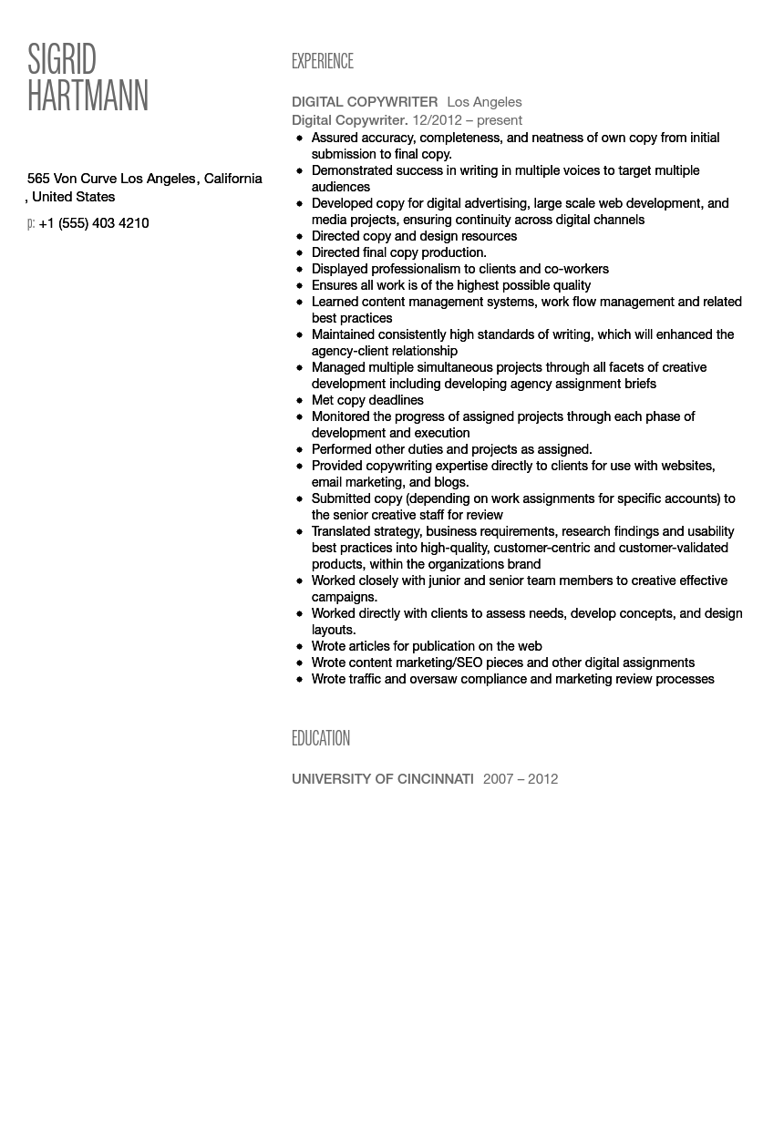 Digital Copywriter Resume Sample  Copywriter Resume