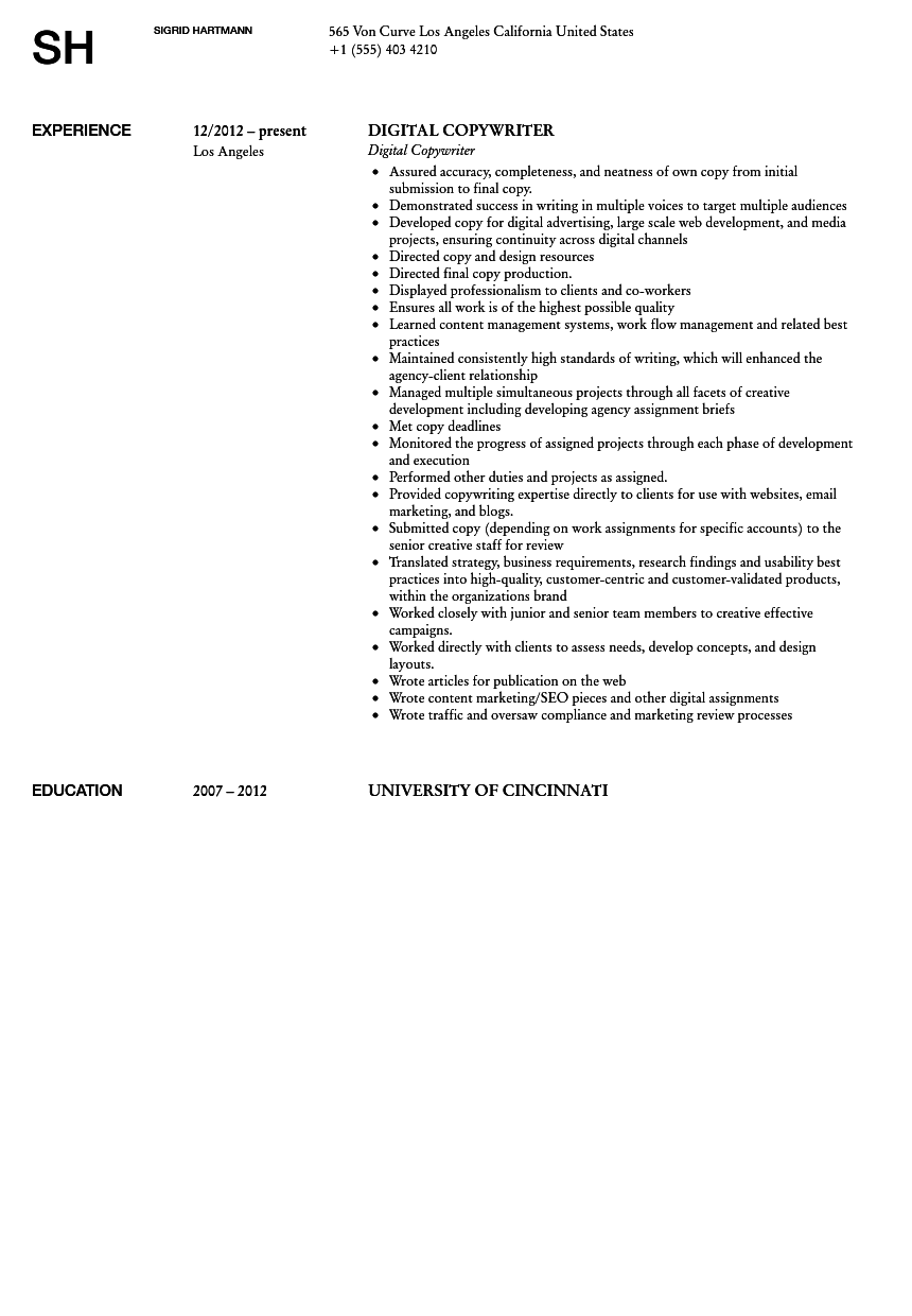 digital copywriter resume sample