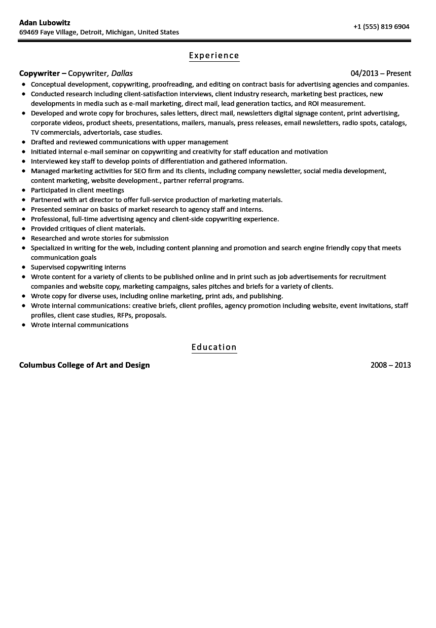Cover letter copywriter position