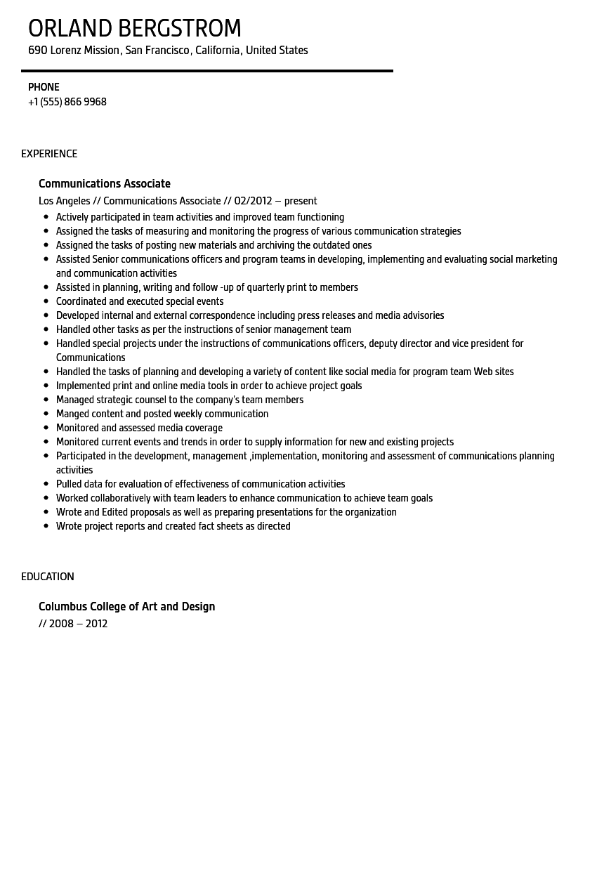 Communications Associate Resume Sample