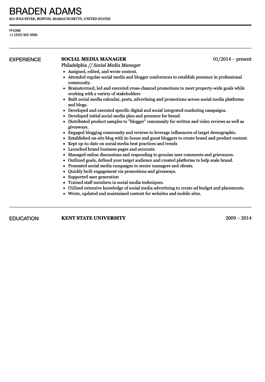 Social Media Manager Resume Sample  Social Media Resume Sample