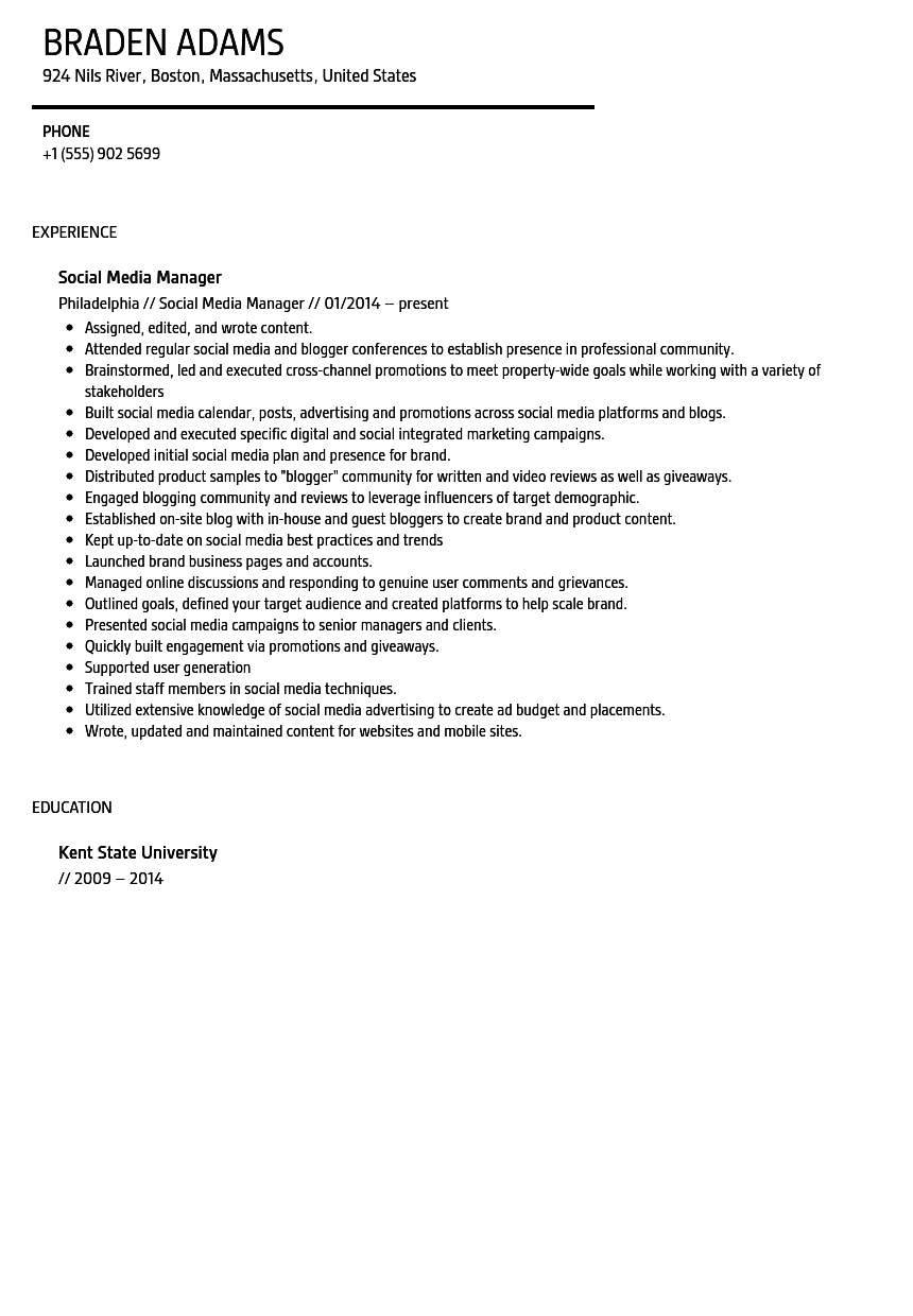 Social Media Manager Resume Sample