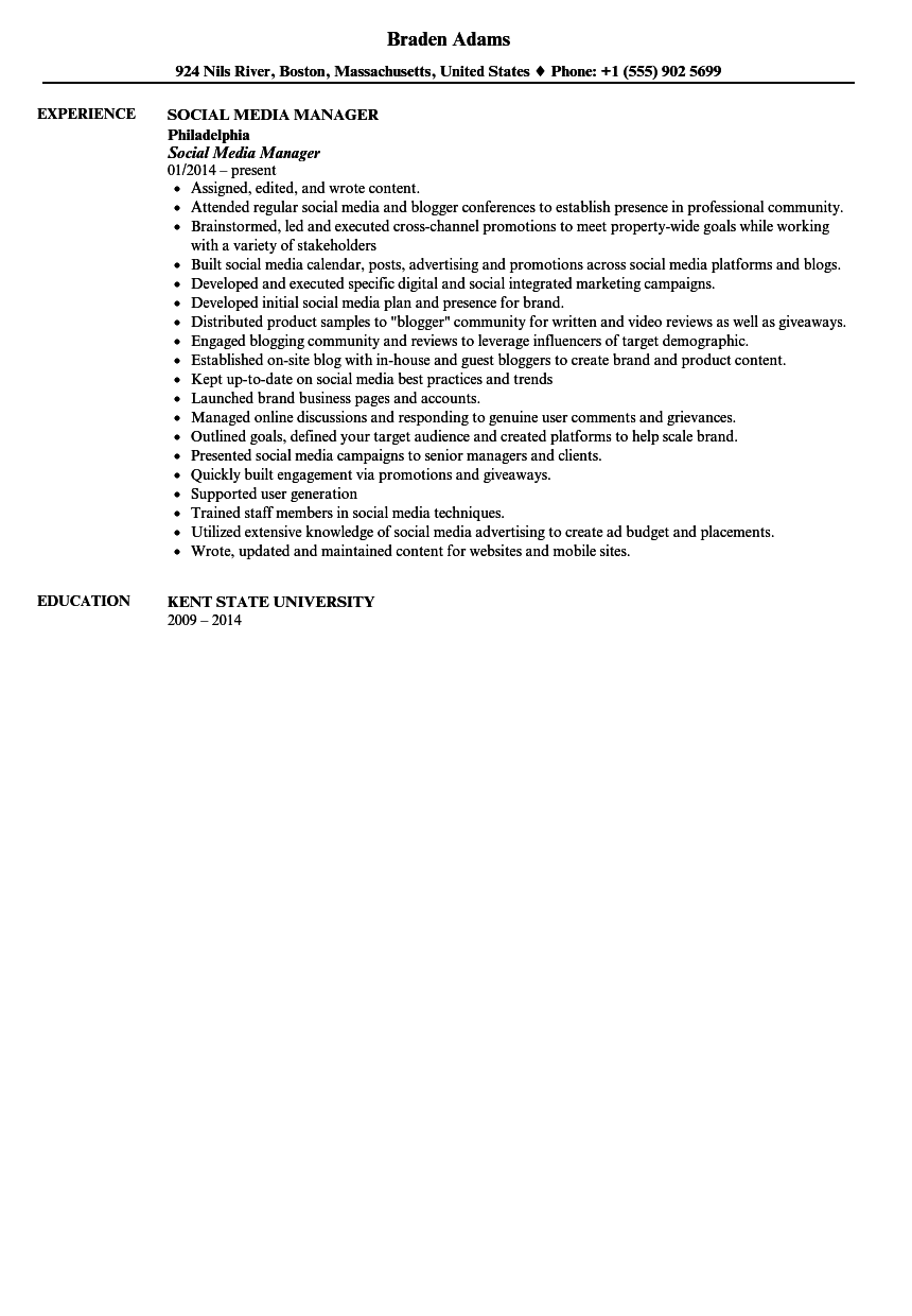 social media manager resume sample - Social Media Manager Resume Sample