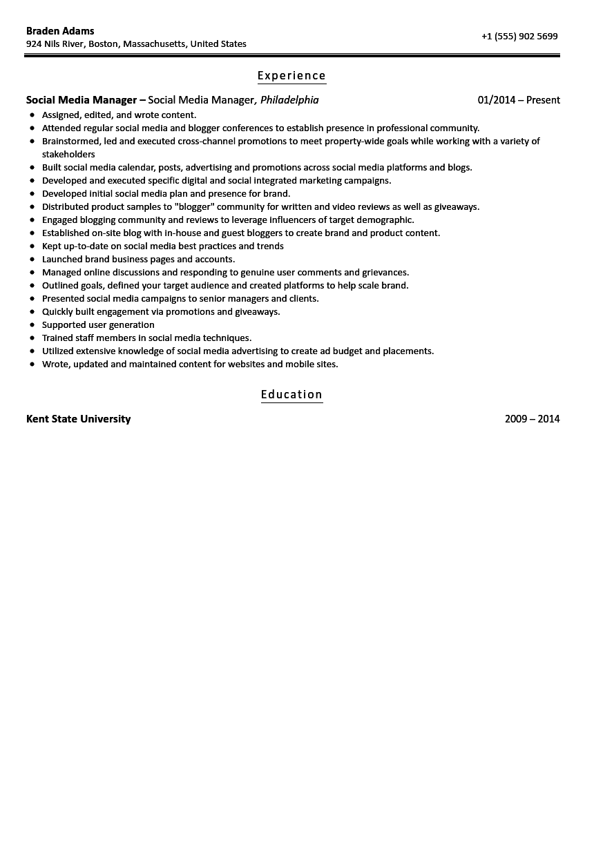 social media manager resume sample. Resume Example. Resume CV Cover Letter