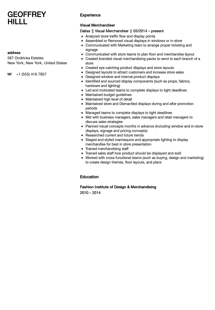 visual merchandiser resume sample velvet jobs