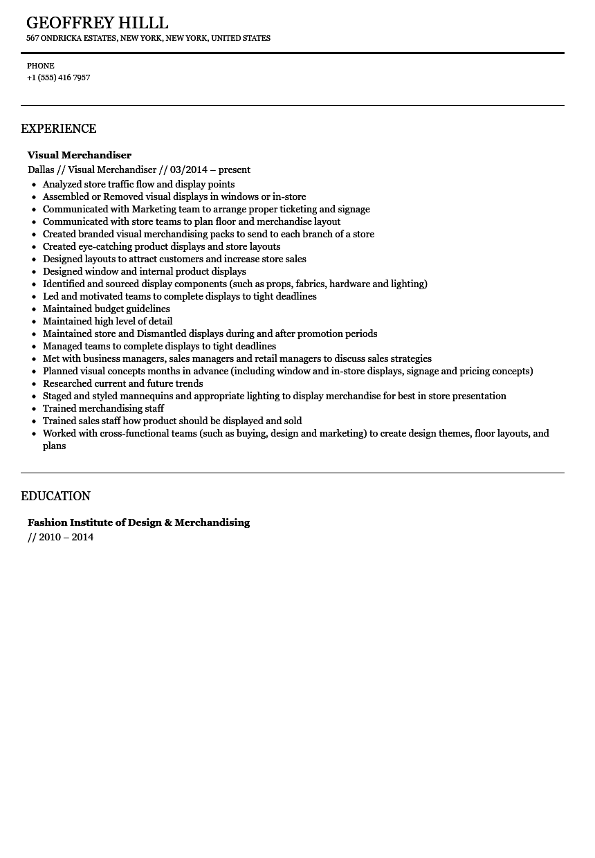 Visual Merchandiser Resume Sample  Visual Merchandising Resume