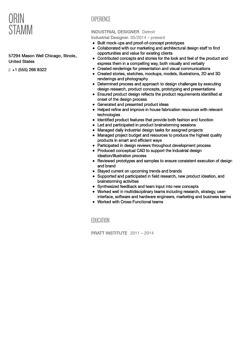 Industrial Designer Resume Sample  Industrial Designer Resume