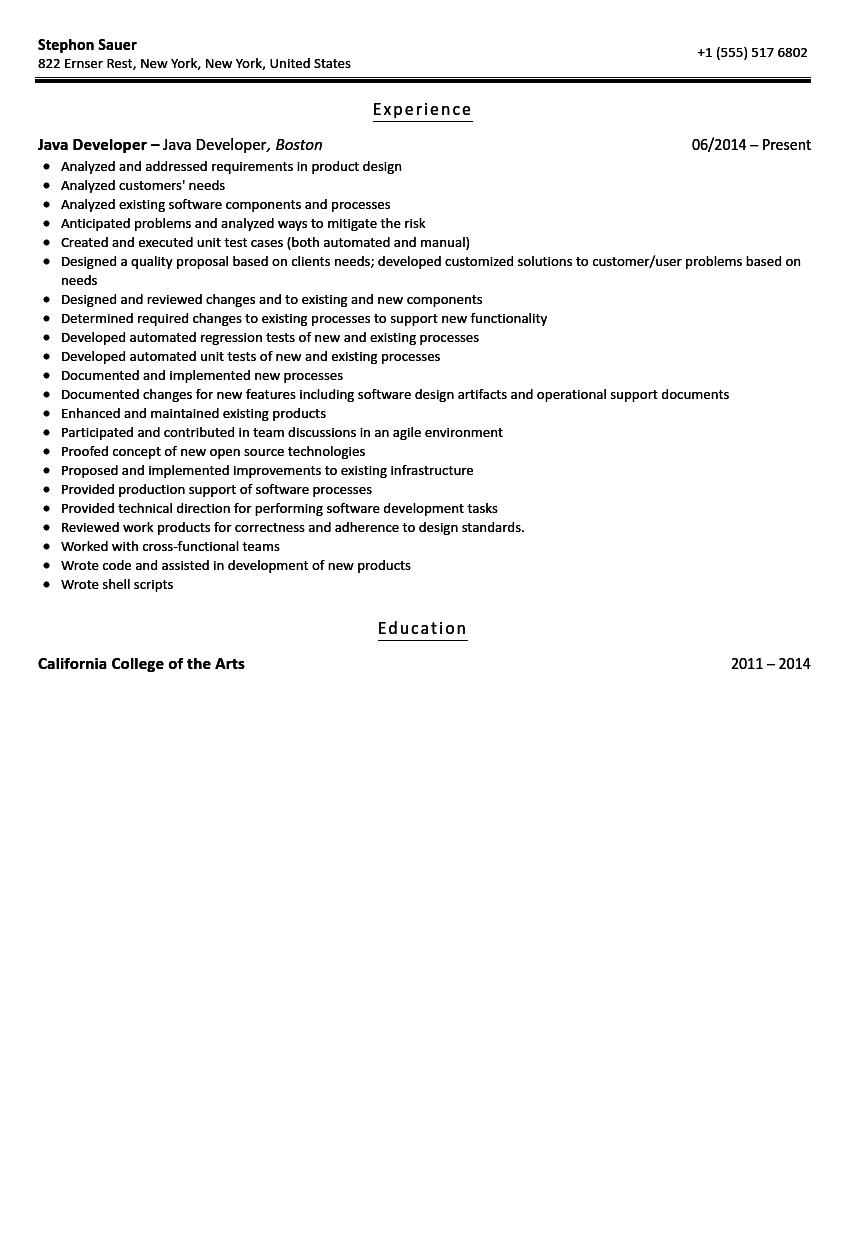 Java Developer Resume Sample