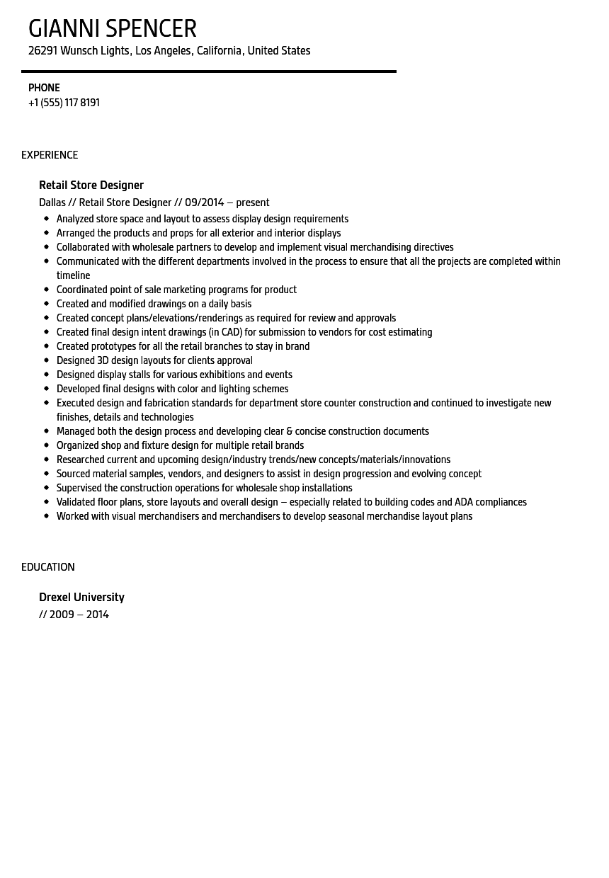 Retail Store Designer Resume Sample