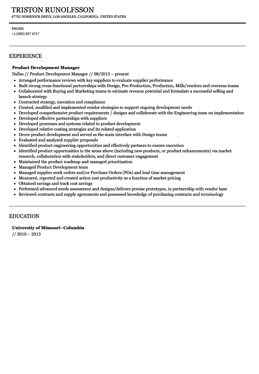 product development manager resume sample velvet jobs