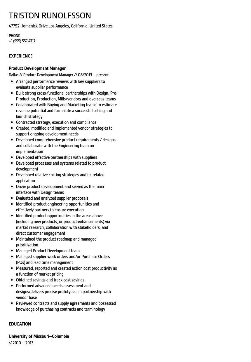 product development manager resume sample